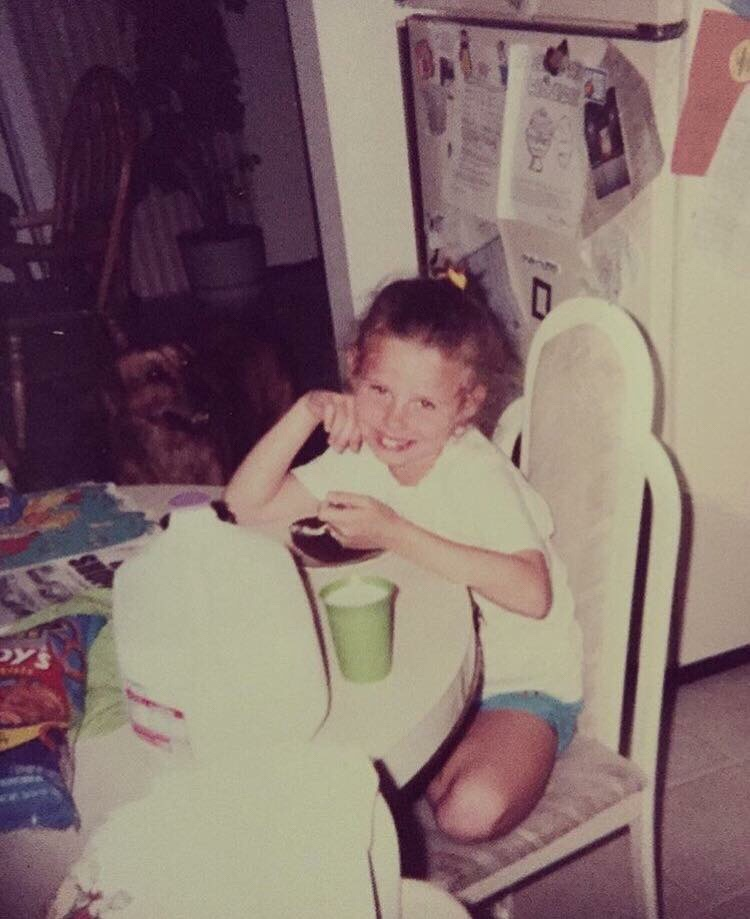 Me aged 6 enjoying some cake